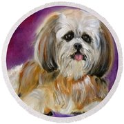 Shih-tzu Puppy Round Beach Towel by Jenny Lee