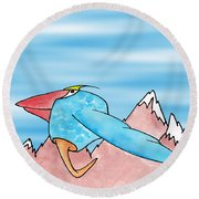 Shikoba Round Beach Towel by Uncle J's Monsters