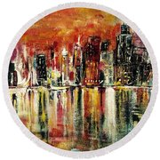 Shimmering City Night Lights Round Beach Towel