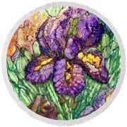 Shimmering Irises Round Beach Towel