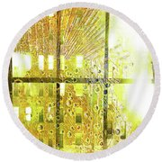 Round Beach Towel featuring the mixed media Shine A Light by Tony Rubino