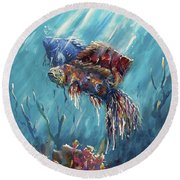 Shine Trough The Ocean Round Beach Towel