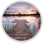 Shinewater Lake Sunrise Round Beach Towel