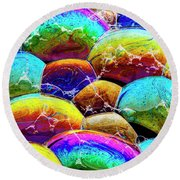 Round Beach Towel featuring the photograph Shiney Bubbles by Jean Noren