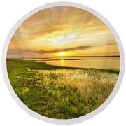 Shinnecock Bay Wetland Sunset Round Beach Towel