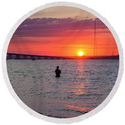 Shinnecock Fisherman At Sunset Round Beach Towel