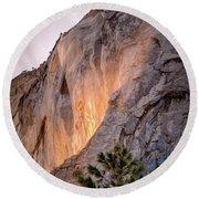 Shiny Horsetail Falls Round Beach Towel