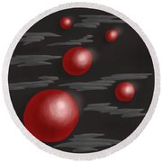 Shiny Red Planets Round Beach Towel