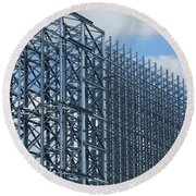 Shiny Steel Construction In Nature Round Beach Towel