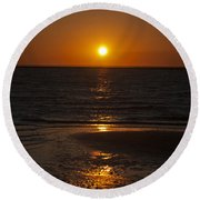 Ship Bottom Sunset Round Beach Towel by Elsa Marie Santoro