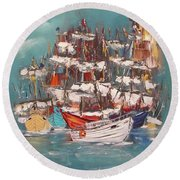 Ship Harbor Round Beach Towel