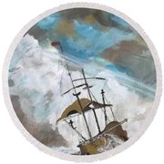 Ship In Need Round Beach Towel