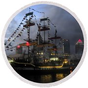 Ship In The Bay Round Beach Towel
