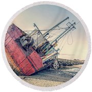 Shipwreck Provincetown Breakwater Round Beach Towel
