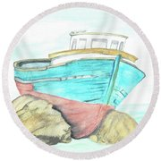 Round Beach Towel featuring the painting Ship Wreck by Terry Frederick