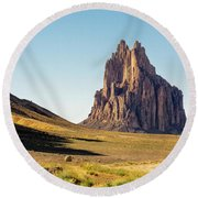 Shiprock 3 - North West New Mexico Round Beach Towel