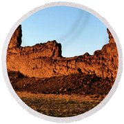 Shiprock Lava Wall 003 Panorama Round Beach Towel by George Bostian