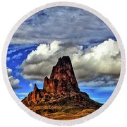 Round Beach Towel featuring the photograph Shiprock Panorama by Scott Mahon