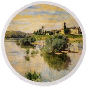 Ships In A Harbor Round Beach Towel