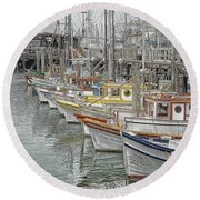 Ships In The Harbor Round Beach Towel