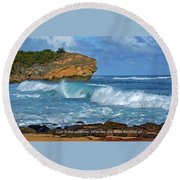 Shipwreck Beach Shorebreaks 2 Round Beach Towel