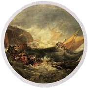 Shipwreck Of The Minotaur Round Beach Towel
