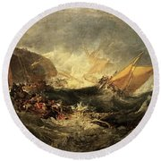Round Beach Towel featuring the painting Shipwreck Of The Minotaur by J M William Turner