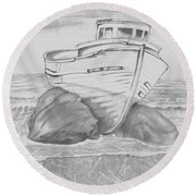 Round Beach Towel featuring the drawing Shipwreck by Terry Frederick