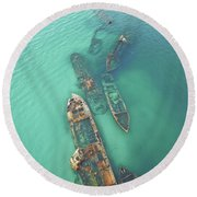 Shipwrecks Round Beach Towel