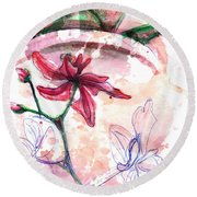 Shiraz Orchid II Round Beach Towel