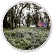 Shirts In A Floodplain Forest Round Beach Towel