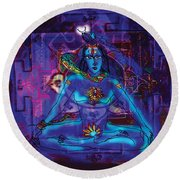 Shiva In Meditation Round Beach Towel