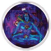 Shiva In Meditation Round Beach Towel