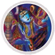 Shiva Playing The Drums Round Beach Towel