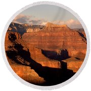 Shiva Temple  At Sunset Grand Canyon National Park Round Beach Towel