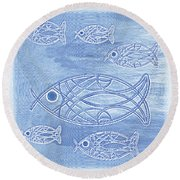 Shoal Of Fish Abstract Round Beach Towel
