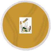 Round Beach Towel featuring the digital art Shocked Not by ReInVintaged
