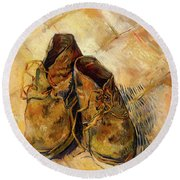 Round Beach Towel featuring the painting Shoes                                   by Vincent van Gogh