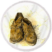 Round Beach Towel featuring the photograph Shoes by John Stephens