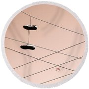 Shoes On A Wire Round Beach Towel by Linda Hollis