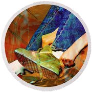 Shoes To Go Round Beach Towel by Bob Pardue
