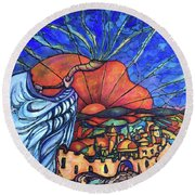 Round Beach Towel featuring the painting Shofar by Rae Chichilnitsky