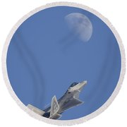 Round Beach Towel featuring the photograph Shoot The Moon by Adam Romanowicz
