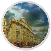 Shooting Round The Corner - Prague Round Beach Towel