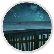 Shooting Stars Round Beach Towel by Marius Sipa