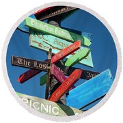 Shopping Directional Sign Round Beach Towel
