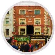shopping on Grafton Street in Dublin Round Beach Towel