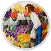 Round Beach Towel featuring the painting Shopping Pike's Market by Vicki  Housel