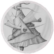Round Beach Towel featuring the drawing Plasma Tree by Charles Bates