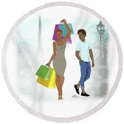 Shopping With Style In Paris Round Beach Towel